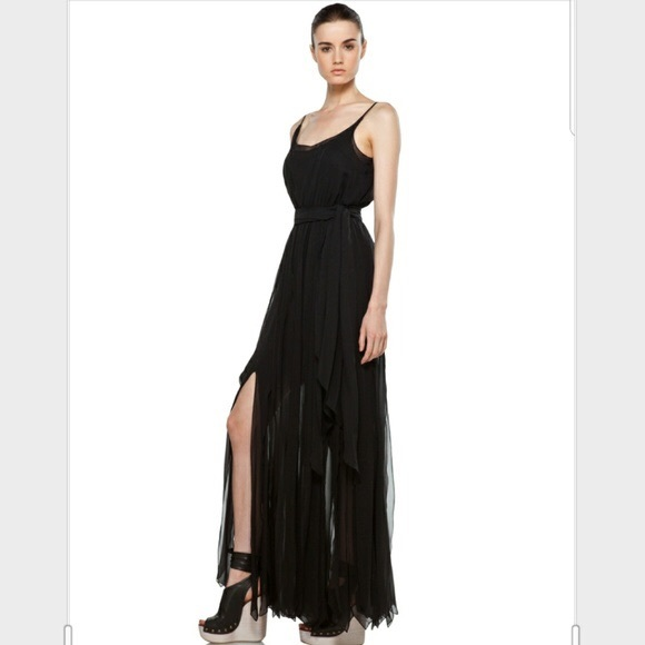 Rachel Zoe Dresses & Skirts - Rachel Zoe Ashley Black silk fringe maxi dress